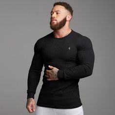Simple Shirts, Casual T Shirts, Sweater Shirt, Men Sweater, Cotton Sweater, Jumper, Moda Fitness, White Casual, Long Sleeve Shirts