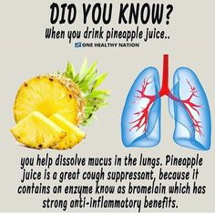 Pineapple Juice helps to dissolve mucus in the lungs and can be a great alternative to cough syrup. – Bromelain and other enzymes found in pineapple, work great for clearing and breaking down mucus, with their anti-inflammatory properties. Sport Nutrition, Nutrition Sportive, Health And Nutrition, Health And Wellness, Health Fitness, Fitness Hacks, Nutrition Tips, Nutrition Quotes, Nutrition Month