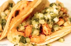 Spicy Chipotle Shrimp Taco - Shrimp smothered and grilled with chipotle paste. Finished with onions, cilantro and a squeeze of lime. Entre salsas roja and Pasta Recipes, Gourmet Recipes, Whole Food Recipes, Cooking Recipes, Healthy Recipes, Tacos And Salsa, Chipotle Paste, Mexican Kitchens, Shrimp Tacos