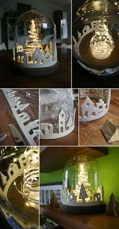 Do it yourself: Make a city of lights out of modeling clay - Gingered Things DIY clay city xmas christmas decorat. Clay Christmas Decorations, Decorating With Christmas Lights, Holiday Crafts, Christmas Ornaments, Halloween Decorations, Christmas Tables, Summer Crafts, Holiday Decorating, Easter Crafts