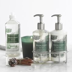 Williams Sonoma Winter Forest Essential Oils Collection - perfect for a last minute Christmas gift! Williams Sonoma, Maisie Williams, Fashion Kids, Winter Forest, Dark Forest, Essential Oil Set, Perfume, Hand Lotion, Biodegradable Products