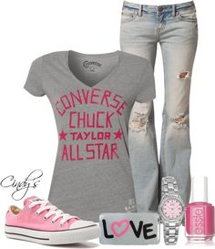 casual outfit with pink chucks Look Fashion, Teen Fashion, Fashion Outfits, Womens Fashion, Ladies Fashion, Summer Outfits, Casual Outfits, Cute Outfits, Casual Wear