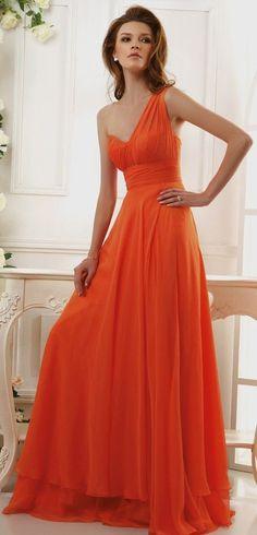 Vestido de madrinha laranja - http://vestidododia.com.br/vestidos-de-festa/vestidos-para-madrinhas-de-casamento/