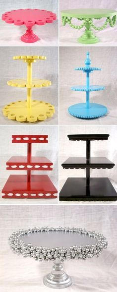 DIY cake stand ideas, I love the bottom one. Place this with a solid color cake. Fun Crafts, Diy And Crafts, Paper Crafts, Tree Crafts, Decor Crafts, Diy Projects To Try, Craft Projects, Craft Ideas, Food Ideas