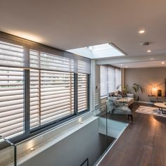 The architect, working closely with the property developer, wanted to bring natural daylight to every part of the house. The resulting ingenious design included large window areas, skylights, floor to ceiling windows and sliding doors, bringing a great feel of space inside the small property.   #Grants #GrantsBlinds #skylight #ideas #shade #Roof #Glazing #Window #RollerBlinds #Motorisedblinds #Luxury #Architecture #London