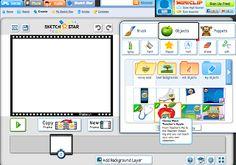 Met Sketch star  kan je online animatiefilmpjes maken. Je krijgteen hele set aan toolsom je frames te bewerken:    clipart  tekstgereed...