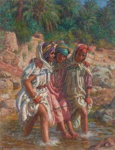 Étienne Dinet - Trois jeunes filles dans l'oued