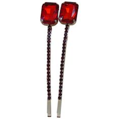 Rectangle Rhinestones hair pin Red – Pink Hippo Store Rs.329 for a pair