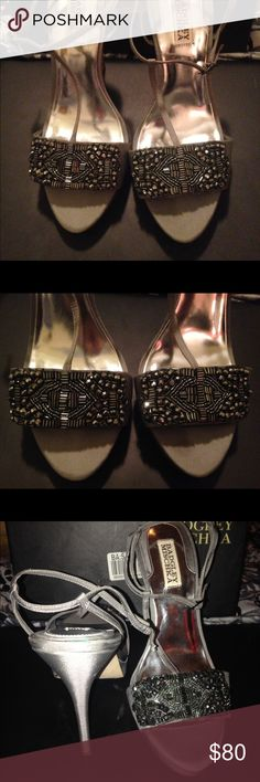 Badgley Mischka size 9.5 Silver Amara heels Great to excellent condition, wear on bottom of shoes but great shape otherwise! Super comfortable! Badgley Mischka Shoes Heels