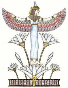 "The Goddess Isis in Her aspect as ""Lotus Bearing"". Her outstretched wings offer protection and healing. She stands upon a lotus, symbol of purity and rebirth. The lotuses surrounding Her are rising from the waters of life in a pool shaped like the plinth of Ma'at (truth)."