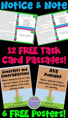 FREE Notice and Note Posters and Task Cards! This blog post includes resources and passages to supplement the strategies outlined in the book Notice and Note by Beers and Probst.