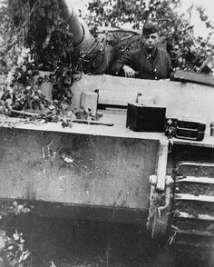 Back from an engagement, this Tiger of the schwere Panzer-Abteilung 502 has received a direct hit from a Soviet 7.62cm tank gun on Leningrad Front in 1943. The round bounced-off leaving only a small indentation without harming the tank crew.