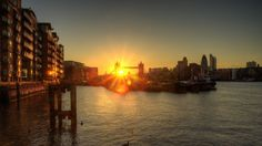 Wallpaper london, england, dawn, river, dock, bridge, buildings
