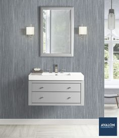 Make your half bathroom feel larger by adding a floating vanitynn#bathroomvanity #vanities #bathroomdesign #interiordesign