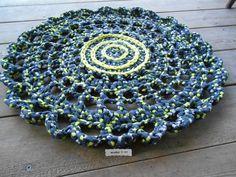 006127445758 Tapis trapilho 60cm grosse fleur réalisée au crochet   Textiles et tapis  par maryzdko Tapis Fleur
