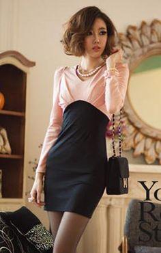 V-neck Long Sleeves Color Contrasting Patchwork Sheath Short Dress - BuyTrends.com
