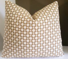 Betwixt Biscuit pillow cover -  Designer Throw Pillow - Select your size during checkout - Celerie Kemble fabric both sides