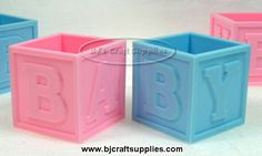 Plastic Baby Blocks with Lid - Baby Shower Decorating Ideas - Baby Shower Accents