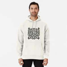 Men's Hoodie Sweatshirt with Subtle Print - Abstract Geometric Black and White Pattern Print, RedBubble Print on Demand Color Verde Mar, Underwear, Kimono, Pullover Hoodie, Pullover Sweaters, Hooded Sweatshirts, Summer Patterns, Color Lines, Ugly Sweater