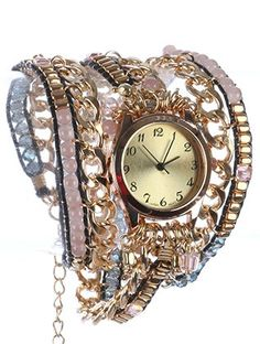 FASHION WATCH / IRIDESCENT GLASS BEAD / CURB CHAIN WRAPAROUND / METALLIC BEAD CHARM / CORD / LOBSTER CLAW CLOSURE / 22 INCH LONG / 1 1/8 INCH DIAMETER / NICKEL AND LEAD COMPLIANT  Under $25.00