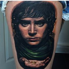 Frodo tattoo worked on by the very talented, @jordancroketattoo  #tolkientattoos