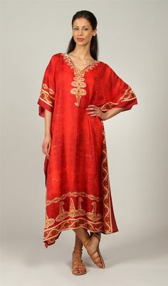 Rubina Kapoor's Womens Long Beautiful Elegant Soft Silky Red Satin Paisley Print - Kaftan