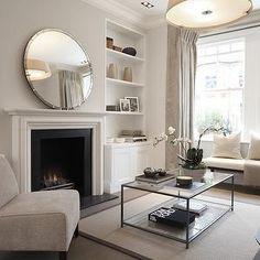 Mirror Over Fireplace - Contemporary - living room - Laura Hammett Mirror Over Fireplace, White Fireplace, Living Room With Fireplace, Fireplace Glass, Simple Fireplace, Chic Living Room, Living Room Interior, Home And Living, Living Room Decor