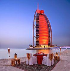 Dubai Romantic dinner with a majestic view of Burj Al Arab Majlis Al Bahar restaurant on the beach. Photo Courtesy of Jumeirah International. Where we met . the beach in Dubai Burj Al Arab, Dubai Hotel, Dubai Uae, Visit Dubai, Dubai City, The Places Youll Go, Places To Go, Great Places, Familienfreundliche Hotels