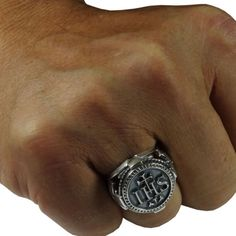 Jesuit Handcrafted Sterling Silver 925 IHS the Holy Name of Jesus Men Coin Ring