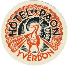 Vintage label for Hôtel du Paon, Yverdon-les-Bains, Switzerland. via art of the… Vintage Graphic Design, Graphic Design Typography, Graphic Design Illustration, Vintage Designs, Logo Design, Design Design, Label Design, Vector Design, Pub Vintage