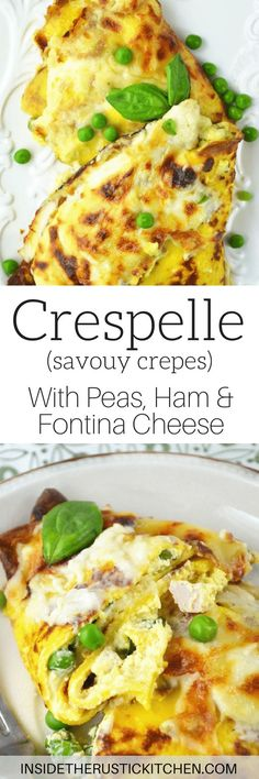 Crespelle (savoury crepes) are stuffed with ricotta, peas and ham and baked with a delicious Fontina cheese sauce! Crespelle Recipe, Pumpkin French Toast, Fontina Cheese, Savory Crepes, Savoury Recipes, Brunch Recipes, Baked Strawberries, Sweet Potato Soup, Pasta