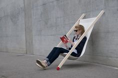 anywhere chair! looks pretty cool, however, it looks like it's made out of giant match sticks. and if that's the case you better not wiggle very much when you sit or you could easily set yourself on fire! not a good activity.