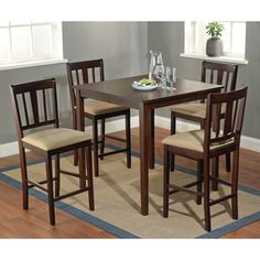 @Overstock - Enhance your home decor with a five-piece Stratton Counter height dining set in an elegant espresso finish. This dining set is perfect for any interior decor.   http://www.overstock.com/Home-Garden/Stratton-Counter-Height-5-piece-Dining-Set/7512052/product.html?CID=214117 $389.99