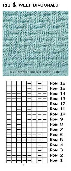 Rib and Welt Diagonals (Pattern 2)