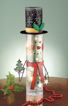 Holiday Snowman Crackled Glass Lamp