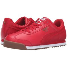 PUMA Roma Basic (Barbados Cherry/Puma White) Men's  Shoes ($60) ❤ liked on Polyvore featuring men's fashion, men's shoes, men's sneakers, vintage mens sneakers, mens two tone shoes, mens white sneakers, mens shoes and mens lace up shoes