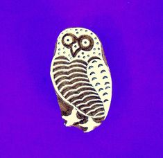 Owl Hand Carved Wood Stamp Animal Indian Print Block   Etsy