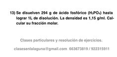 Ejercicio propuesto 13 de Concentración de disoluciones: fracción molar.