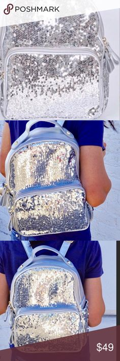 """Silver Sequin Backpack The dimensions are approximately 12"""" x 12"""" x 4.5"""" Pink Haley Bags Backpacks"""