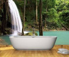 Get this popular bathroom wall mural! Wonder what it feels like to relax in a exotic getaway? Take relaxation to the next level with the waterfall in thailand wall mural. All our wall murals are waterproof check the rest out at www.eazywallz.com