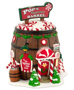 Department 56 Collectible Figurine, North Pole Village Pop's Peppermint Barrel