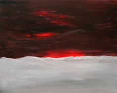 Dramatic Sky Red Sunset Abstract Landscape by PuzzledbyArtmondo