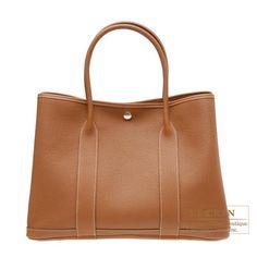 Hermes Garden Party bag PM Gold Negonda leather Silver hardware