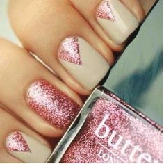 Replace the nude with navy blue and replace the pink sparkles with silver ones and this would be perfect for my dress  Prom Nail Ideas: The Prettiest Manicures For Your Big Night | Beauty High