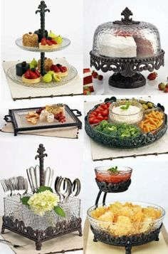 """Dimensions: cake dome, 13"""" diameter x 12.6"""" high. 5-section Lazy Susan, 14.2"""" diameter. 2-tiered Plates, 13"""" diameter x 12.6"""" high. Serving Tray, 16 x 11-in"""