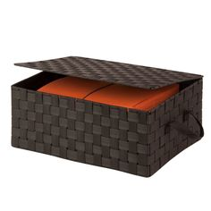 Add elegant storage to your home or office with the Honey Can Do Hinged Lid Woven Storage Box . This large box features a hinged lid for easy access. Dvd Storage, Storage Boxes, Storage Chest, Storage Ideas, Boat Storage, Rolling Storage, Storage Baskets, Box Hinges, Fabric Boxes