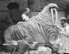 Taxidermists prepare a walrus for exhibition, c. 1890s