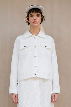 New #WeAreSelecters #Stores White Piqué Jacket by Meshit SS15 #womenswear