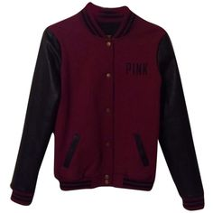 Pre-owned Victoria's Secret Limited Edition Varsity Maroon And Black... (810 DKK) ❤ liked on Polyvore featuring maroon and black and outerwear
