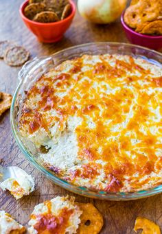 Creamy Baked Double Cheese and Sweet Onion Dip - Cheesy, comforting & easy dip that everyone loves!